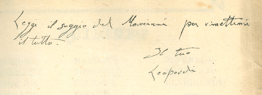 Dal Museo archeoideologico: un autografo di Leopardi