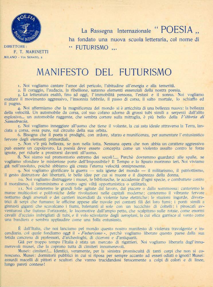 STORIA DEL FUTURISMO – 1909. Le prime edizioni del Manifesto del Futurismo