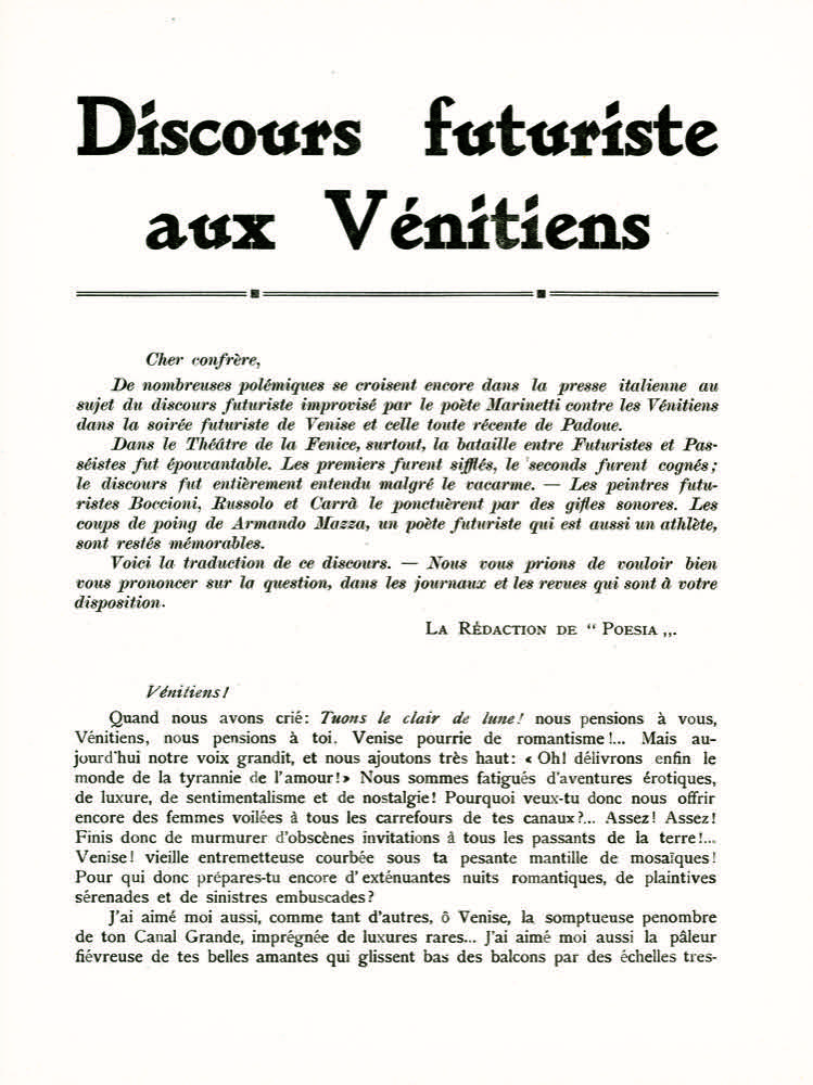 STORIA DEL FUTURISMO – 1910. La battaglia di Venezia