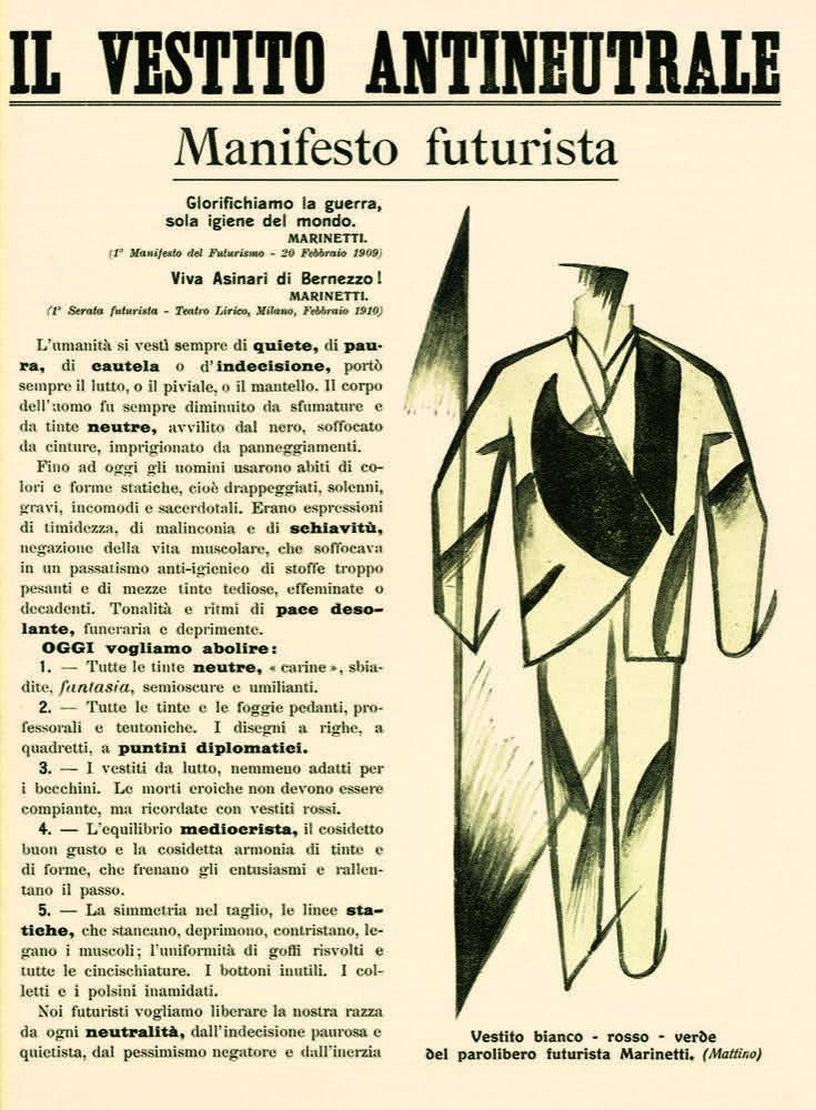 STORIA DEL FUTURISMO – 1914. Il vestito antineutrale