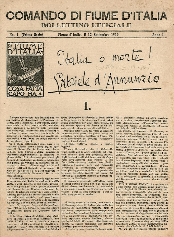 Il «Bollettino Ufficiale» del Comando di Fiume d'Italia